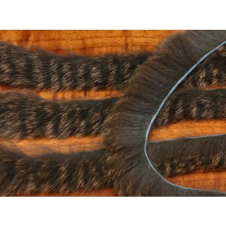 Black Barred Squabbit Strips - Dyed to look like squirrel, but with the action of rabbit